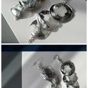 Plabodot Szirén fülbevaló - ezüst,  többrészes, Ékszer, Fülbevaló, Kb 3*7cm-es(a legnagyobb kör 3cm átmérőjű), három körből álló, pillesúlyú, PETpalack fülbevaló pötty..., Meska