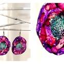 Plabodot Dandelion fülbevaló - lila/pink/piros/vízzöld, Ékszer, Fülbevaló, PET palackból kézzel készített és festett PLABODOT Dandelion fülbevaló nikkelmentes szerelékkel. Átm..., Meska