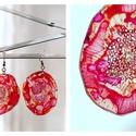 Plabodot Dandelion fülbevaló - narancs/pink/piros, Ékszer, Fülbevaló, PET palackból kézzel készített és festett PLABODOT Dandelion fülbevaló nikkelmentes szerelékkel. Átm..., Meska