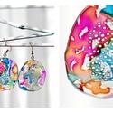 Plabodot Dandelion fülbevaló - tarka, Ékszer, Fülbevaló, PET palackból kézzel készített és festett PLABODOT Dandelion fülbevaló nikkelmentes szerelékkel. Átm..., Meska