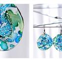 Plabodot Dandelion fülbevaló - kék/zöld/türkiz, Ékszer, Fülbevaló, PET palackból kézzel készített és festett PLABODOT Dandelion fülbevaló nikkelmentes szerelékkel. Átm..., Meska