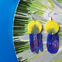 Plabodot HDPE fusion fülbevaló - kék/sárga, felemás, Ékszer, Fülbevaló, Kb 3*6cm-es, fura alakú, pillesúlyú, HDPE (High-density polyethylene - nagy sűrűségű polietilén. A H..., Meska