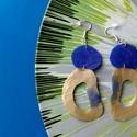 Plabodot HDPE fusion fülbevaló - kék/arany, Ékszer, Fülbevaló, Kb 3,5*7cm-es, fura alakú, pillesúlyú, HDPE (High-density polyethylene - nagy sűrűségű polietilén. A..., Meska