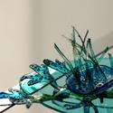Plabodot Underwater bross - türkiz/kék/zöld, Ékszer, Bross, kitűző, Ékszerkészítés, Újrahasznosított alapanyagból készült termékek, Medúzák, vízinövények, iszap, titkok. kb 6,5*4,5cm-es, festett, pillekönnyű bross, az Underwater ko..., Meska