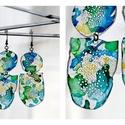Plabodot fura fülbevaló - sárga/kék/zöld, Ékszer, Fülbevaló, PET palackból kézzel készített és festett PLABODOT Dandelion fülbevaló nikkelmentes szerelékkel. Mér..., Meska
