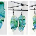 Plabodot Tollafülbe fülbevaló - kék/zöld, Ékszer, Fülbevaló, PET palackból kézzel készített és festett PLABODOT Dandelion fülbevaló nikkelmentes szerelékkel. Mér..., Meska