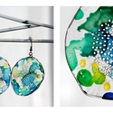 Plabodot Dandelion fülbevaló - kék/zöld/sárga, Ékszer, Fülbevaló, PET palackból kézzel készített és festett PLABODOT Dandelion fülbevaló nikkelmentes szerelékkel. Átm..., Meska