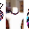 Tribequa nyaklánc - fekete/színes, Ékszer, Nyaklánc, Fonott nyaklánc kizárólag textilből készítve. Nem tartalmaz allergén anyagokat.  A fonott rész hossz..., Meska