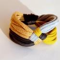 DIAGONAL - textil karkötő, mustár/antracit, Ékszer, Karkötő, Új karkötőkollekció, amely a DIAGONAL névre hallgat.  Antiallergén, ahogy az a textilékszereimnél má..., Meska