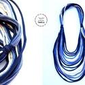 Sokszálas, long BASIC nyaklánc - kék/bézs, Ékszer, Nyaklánc, Klasszikus sokszálas nyaklánc kizárólag textilből készítve fix hosszal. Nem tartalmaz allergén anyag..., Meska