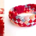 TRIBEQUA - textil karkötő, 213, Ékszer, Karkötő, Textilkarkötő puha, fonott kivitelben.  Hossza kb 16-17cm. Szélessége kb 2,5 cm.  Kérhető más színko..., Meska