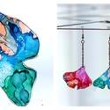Plabodot Ginkgo fülbevaló - színes, Ékszer, Fülbevaló, Kb 3*4cm-es(+ nikkelmentes szerelék - teljes hossza kb 8,5cm), ginkgo levél alakú, pillesúlyú, PET p..., Meska