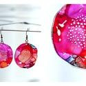 Plabodot Dandelion fülbevaló - piros/narancs/pink, Ékszer, Fülbevaló, PET palackból kézzel készített és festett PLABODOT Dandelion fülbevaló nikkelmentes szerelékkel. Átm..., Meska