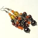 Tenyésztett gyöngy - kristály fülbevaló  , Ékszer, Fülbevaló, Fekete és rozsdabarna tenyésztett gyöngyökből, valamint citrom és narancssárga kristály gyö..., Meska