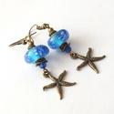 Kék tenger...  pandora gyöngyös bronz fülbevaló Akció!, Ékszer, Fülbevaló, Kézzel készült pandora stílusú lámpagyöngyből, és kristály gyöngyökből készült fülbevaló, bronz szín..., Meska