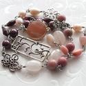 Magnólia... ásványgyöngyös nyaklánc vagy 3 soros karkötő, Ékszer, Nyaklánc, Karkötő, Rodonit, perui rózsaopál, tenyésztett gyöngy, gránát, rózsakvarc, shell pearl és ezüst színű köztese..., Meska