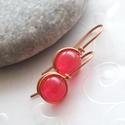 Picuri... pink achát fülbevaló vörösrézzel  , Ékszer, Fülbevaló, Ékszerkészítés, 8 mm-es pink achát golyóból, és vörösréz ékszerdrótból tekergetett egyszerű, modern fülbevaló.  Tel..., Meska