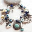 Amulett karkötő, Ékszer, Karkötő, Csudaságos, csilingelő, csörgő - zörgő karkötőt készítettem, mindenféle fajta amulettel, lápisszal, ..., Meska
