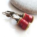 Korall korongok... bronz - antik arany fülbevaló, Ékszer, Fülbevaló, Korall korongokból, valamint bronz és antik arany színű köztesekből készült fülbevaló, bronz biztons..., Meska