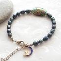 Midnight blue... Paua / Abalone kagyló - tenyésztett gyöngy karkötő, Ékszer, Karkötő, Kb 7 * 5 mm-es kékesfekete tenyésztett gyöngyökből, 24 * 15 mm-es babszem alakú paua / abalone kagyl..., Meska
