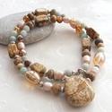 Napos ősz... jáspis - amazonit - tenyésztett gyöngy nyaklánc, Ékszer, Nyaklánc, 6 mm-es amazonit golyókból, képjáspis rondellákból és nugettekből, tenyésztett gyöngyökből, kristály..., Meska