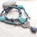 Tadzs Mahal... kék korall - türkiz - szodalit nyaklánc, Ékszer, Nyaklánc, Különböző formájú és méretű türkiz, kék korall és szodalit ásványgyöngyökből, ezüst színű köztesekbő..., Meska