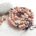 Perui pink opál nyaklánc vagy 3 soros karkötő és fülbevaló szett, Ékszer, Nyaklánc, Karkötő, Fülbevaló, Perui rózsaszín opál nugettekből, és ezüst színű köztesekből készült nyaklánc, vagy 3 soros karkötő,..., Meska