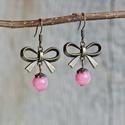 AKCIÓ - Védelem - pink mountain jade fülbevaló, A jade védő kő, távolt tartja a negatív, árt...