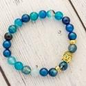Buddha - kék achát karkötő, Az achát stabilizáló és erősítő hatású, e...