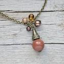 Boho - goldfluss nyaklánc, Ékszer, óra, Nyaklánc, A goldfluss egy mesterségesen előállított üveg fajta, mely réz reszeléket tartalmaz. A réz kristályo..., Meska