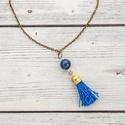 Boho - lapis lazuli bojtos nyaklánc , Ékszer, óra, Nyaklánc, Ez a kő gyorsan oldja a stresszt, mély békességet biztosít. Hatalmas nyugalom jellemző rá, és a kulc..., Meska