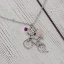 Love my bike - bringás nyaklánc rózsakvarccal, Ékszer, óra, Nyaklánc, A rózsakvarc a feltétel nélküli szeretet és a végtelen béke köve. Ez a legfontosabb kristály a szív ..., Meska