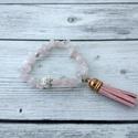 Szívcsakra - rózsakvarc bojtos karkötő, Ékszer, óra, Karkötő, A rózsakvarc a feltétel nélküli szeretet és a végtelen béke köve. Ez a legfontosabb kristály a szív ..., Meska