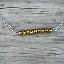 Minimal - bronz nyaklánc, Ékszer, óra, Nyaklánc, Minimalista nyaklánc bronz színű csiszolt gyöngyökkel, ezüst színű láncon.  Kövek mérete: 3 mm Nyakl..., Meska