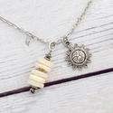 Positano - charm nyaklánc kagylóval, Ékszer, óra, Nyaklánc, Gyönyörű nyaklánc kagylógyöngyökkel és napocska medállal.  Nyaklánc hossza: 50 cm Medál mérete: 11 m..., Meska