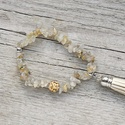 Energia - rutilkvarc karkötő , Ékszer, óra, Karkötő, A rutilkvarcot a kristályt átszövő finom aranyfonalak miatt angyalhajkvarcnak is nevezik. Ősidők óra..., Meska