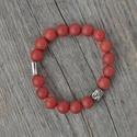 Buddha - matt vörös achát karkötő, Ékszer, Karkötő, Az achát stabilizáló és erősítő hatású, elősegíti a belső egyensúlyt.  Az achát kő gyógyít, biztonsá..., Meska