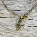 Vintage violin kulcs nyaklánc, Ékszer, Nyaklánc, Vintage violin kulcs nyaklánc. Tökéletes ajándék zenekedvelőknek.  Medál mérete: 2 cm Nyaklánc hossz..., Meska