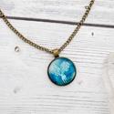Woodland - kék szarvas medál, Ékszer, Nyaklánc, Kék szarvasos nyaklánc üveglencse medállal bronz színben.  Amióta az emberiség létezik, a szarvas ig..., Meska