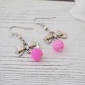Love - rózsaszín achát fülbvaló, Ékszer, Fülbevaló, Az achát stabilizáló és erősítő hatású, elősegíti a belső egyensúlyt.  Az achát kő gyógyít, biztonsá..., Meska
