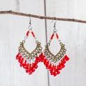 Bombay - piros fülbevaló, Ékszer, Fülbevaló, Bombay - egyedi, kézzel készült piros bohém fülbevaló bronz alapon, piros akrilgyöngyökkel.  Fülbeva..., Meska
