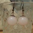 Rózsakvarc fülbevaló - minimalista, jóga ékszer, ásványékszer, rózsaszín ásvány kristály, Ékszer, Fülbevaló, Gyönyörű, egyszerű rózsakvarc fülbevaló 10 mm-es rózsakvarc kővel.  A rózsakvarc a feltétel nélküli ..., Meska