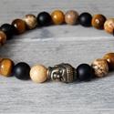 Buddha - karkötő tigrisszemmel, képjáspissal és matt ónix-al, Ékszer, Férfiaknak, Ékszer, kiegészítő, Karkötő, Az ónix a mindennapi életben a fegyelmet és a kitartást, a kivitelezésre való képességet támogatja. ..., Meska