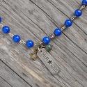 AKCIÓ - Miracle - kék achát nyaklánc, Ékszer, Nyaklánc, Gyönyörű kék achát nyaklánc 10 db achát gyönggyel és Miracle medállal.  Az achát kő gyógyít, biztons..., Meska