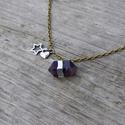 Boho - ametiszt nyaklánc, Ékszer, Nyaklánc, Egyszerű bohém nyaklánc ametiszttel.  Az ametiszt rendkívül hatékony és védelmező kő, magas spirituá..., Meska