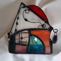 Tiffany mécsesházikó_7, Dekoráció, Karácsonyi, adventi apróságok, Otthon, lakberendezés, Ünnepi dekoráció, Fémmegmunkálás, Üvegművészet, Spectrum és Wissmach üvegekkel, tiffany technikával készítettem a házikót.  Patinált rézdróttal dís..., Meska