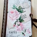 Rózsás napló, Naptár, képeslap, album, Jegyzetfüzet, napló, A5 méretű kemény borítós füzet, a  belső lapok 120 g-os elefántcsontszínű papírból készültek. 80 lap..., Meska
