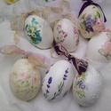 Húsvéti kacsatojás virágos, Dekoráció, Húsvéti díszek, Otthon, lakberendezés, Ünnepi dekoráció, Szép formájú , nagy liba tojások különböző, virágos díszítéssel.  Az ár egy darab tojá..., Meska