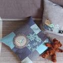 DÁNIAMÁNIA - patchwork párna, Imádom a táskák maradék anyagait rakosgatni, s...