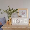 HOME dekoráció, Otthon, lakberendezés, Falikép, Ajtódísz, kopogtató, Természetes otthondekoráció gyapjúfilc alapra applikálva és hímezve.  Mérete  12x24 cm.  Ha más szín..., Meska
